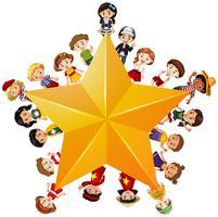 Gul stjärna med barn på gränsen