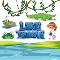 Set of lake lake theme