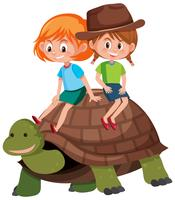 Children riding on turtle