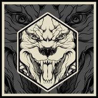 Ilustración vectorial Cabeza de mascota de pitbull enojado, sobre un fondo negro vector