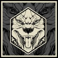 Vector illustration Angry pitbull mascot head, on a black background