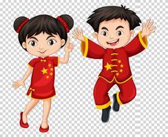 Två kinesiska barn i röd kostym