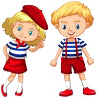 Boy and girl in blue striped shirts