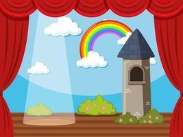 Fondo de escenario con torre y arcoiris.