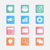 Vecteur série de 12 icônes de papier découpé de l'entreprise.