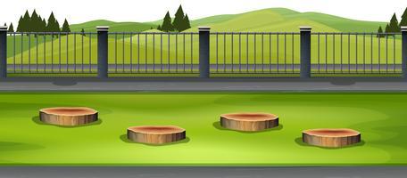 escena de la naturaleza al aire libre con valla