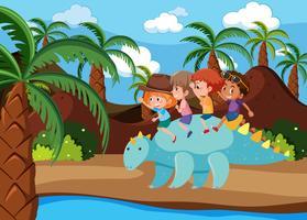 Children riding dinosaur in nature