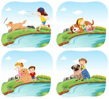 Four scenes with kids and dogs