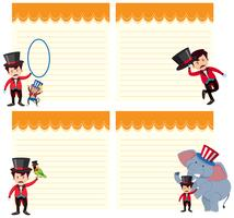 Set van circusshow op notitie sjabloon