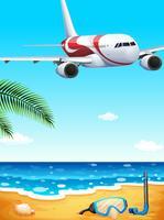 Una playa con un avión alto.