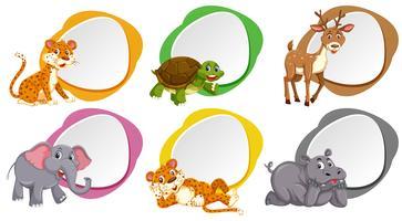 En uppsättning av blank banner med djur
