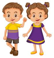 Cute boy and girl in yellow and purple costume