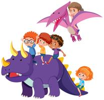 Children with dinosaur on white background