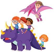 Enfants avec dinosaure sur fond blanc