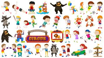 Set of kid and circus