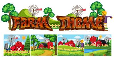 Set of farm theme