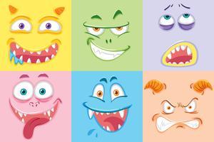 Conjunto de rostos de monstro colorido