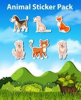 Many animal sticker pack vector