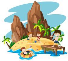 Crianças, ligado, verão, ilha