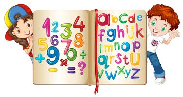 Children with book of numbers and alphabets