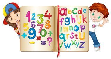 Barn med bok av siffror och alfabet