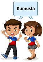 Philippino pojke och tjej hälsning