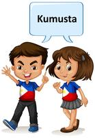 Philippino boy and girl greeting