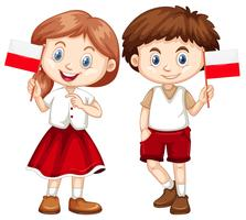 Happy boy and girl holding flag of Poland