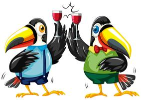 Two toucan birds with wine glasses