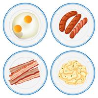 Desayuno en cuatro platos.