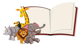 Wild animals open book template