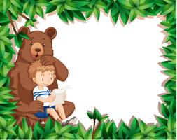Boy and bear on nature border
