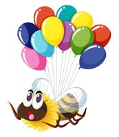 Bee flying with many balloons