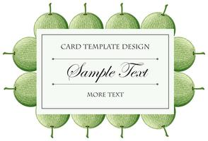Card template with cantaloupe fruits background