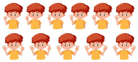 Set of boy with hand number gesture