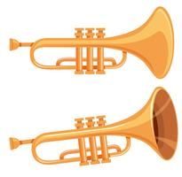 Set of trumpet on white background