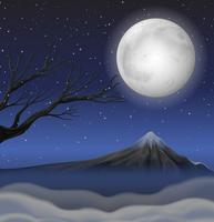 Scene with mountain on fullmoon night