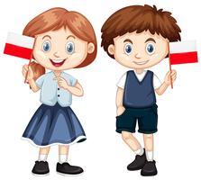 Boy and girl with Poland flag vector