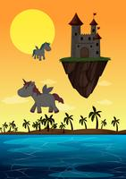 Scène de licorne et de château