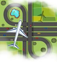 Luftszene mit dem Flugzeug, das über die Straßen fliegt