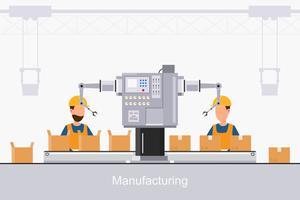 Smart Industrial Factory in einem flachen Stil mit Arbeitern, Robotern und Fließbandverpackung