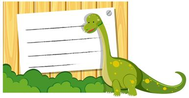 A dinosaur on note template