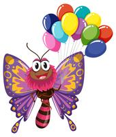 Colorful butterfly holding balloons