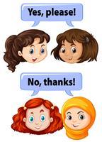 Crianças com expressões de maneira