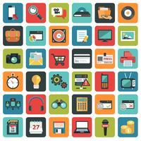 Icônes de plats modernes vector collection dans des couleurs élégantes des objets de conception web