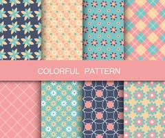 Colorful pattern set. Background patterns for fabric and paper. Flat vector illustration