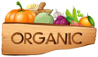 Organic sign with fruits and vegetables