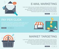 E mail marketing, pay per click and market targeting banners vector
