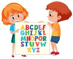 Children holding english alphabet