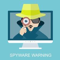 Segurança na Internet e aviso de spyware com detetive